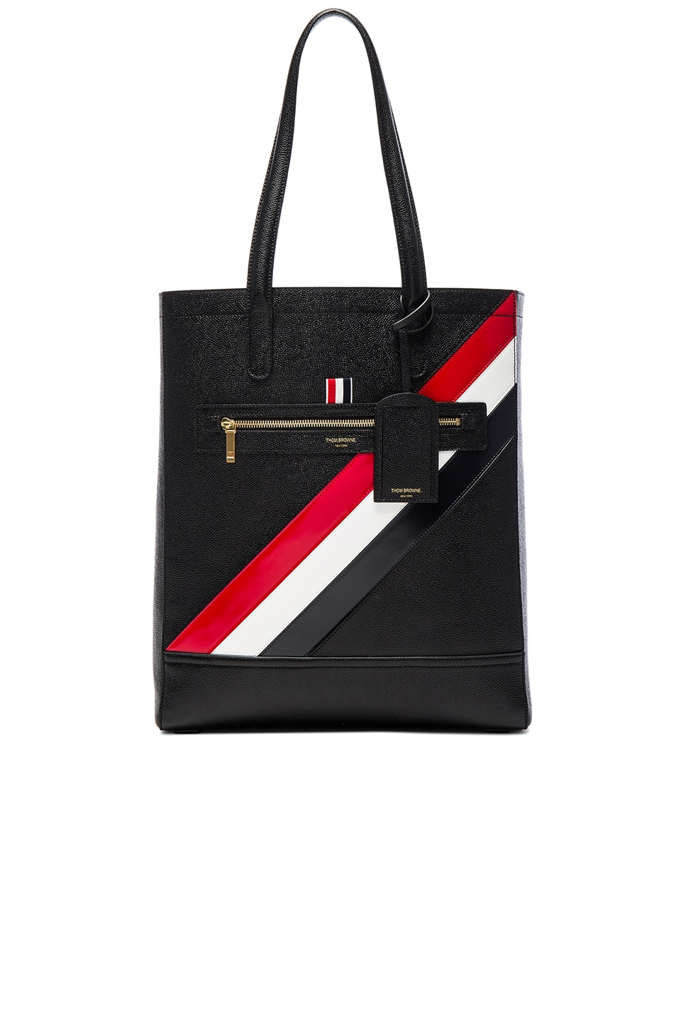 Image 1 of Thom Browne Diagonal Stripe Tote in Black