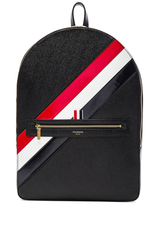 c29d91bd6d Image 1 of Thom Browne Diagonal Stripe Backpack in Black