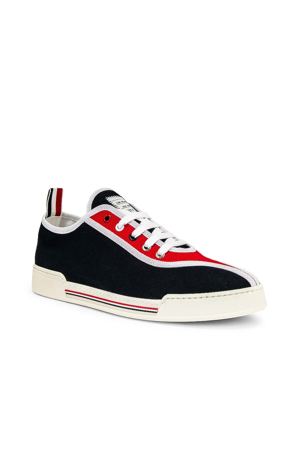 Image 1 of Thom Browne Trainer Paper Label Sneaker in Red & White & Black
