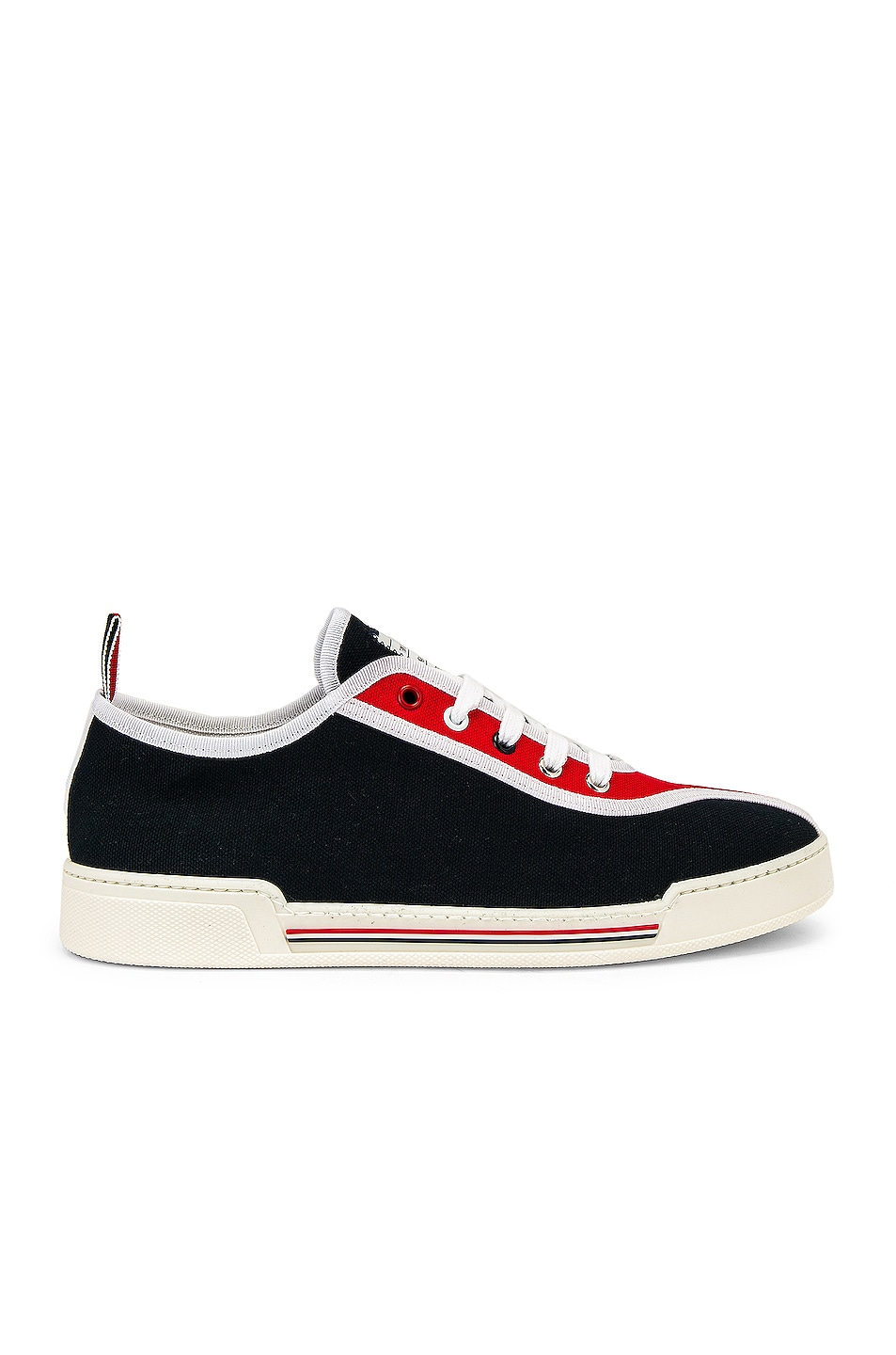 Image 2 of Thom Browne Trainer Paper Label Sneaker in Red & White & Black