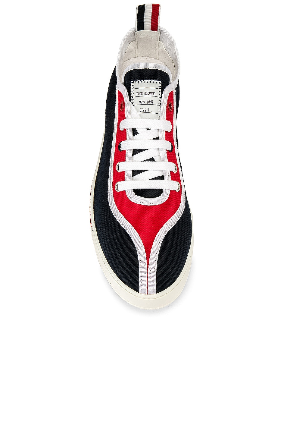 Image 4 of Thom Browne Trainer Paper Label Sneaker in Red & White & Black