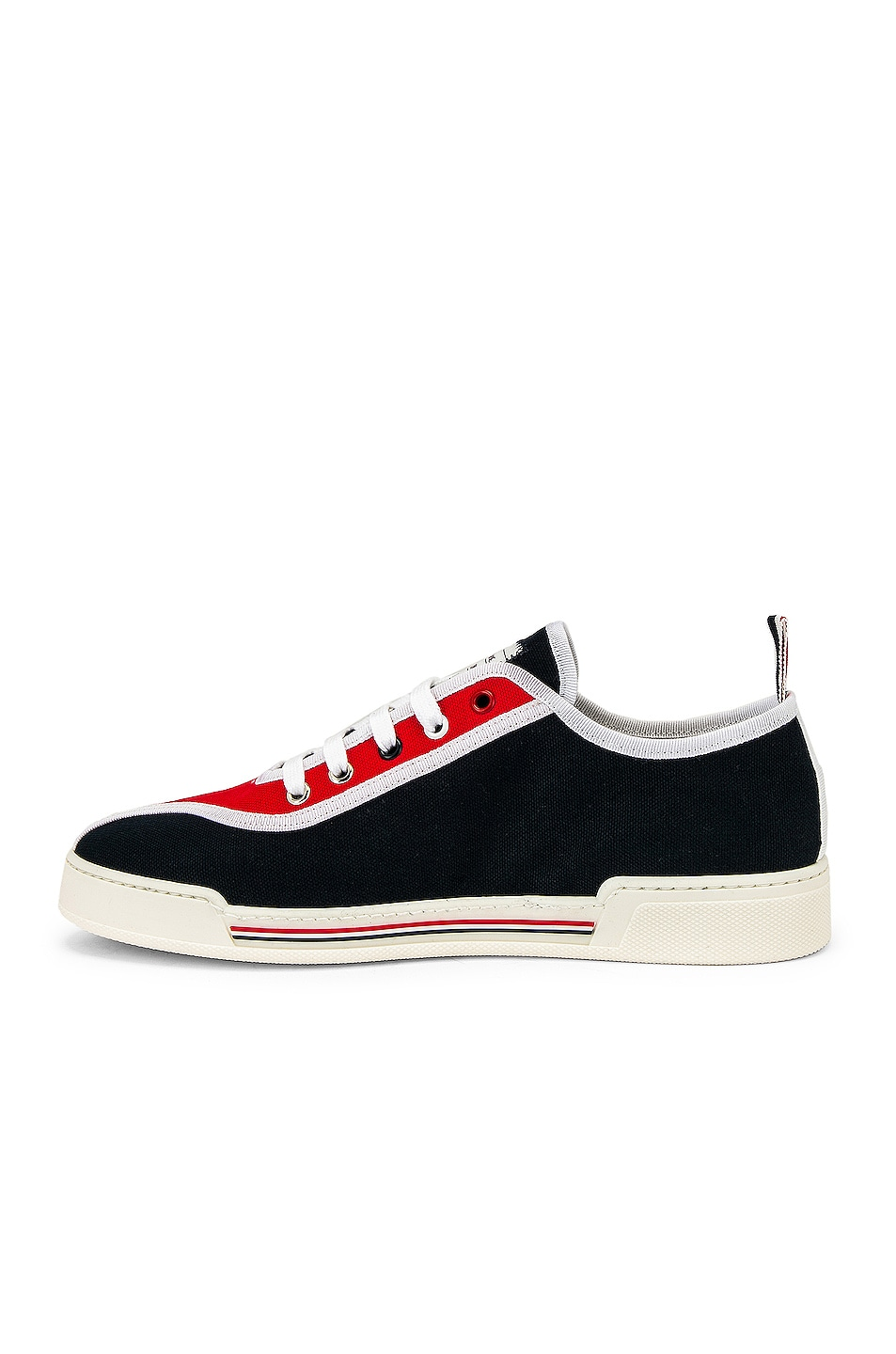 Image 5 of Thom Browne Trainer Paper Label Sneaker in Red & White & Black