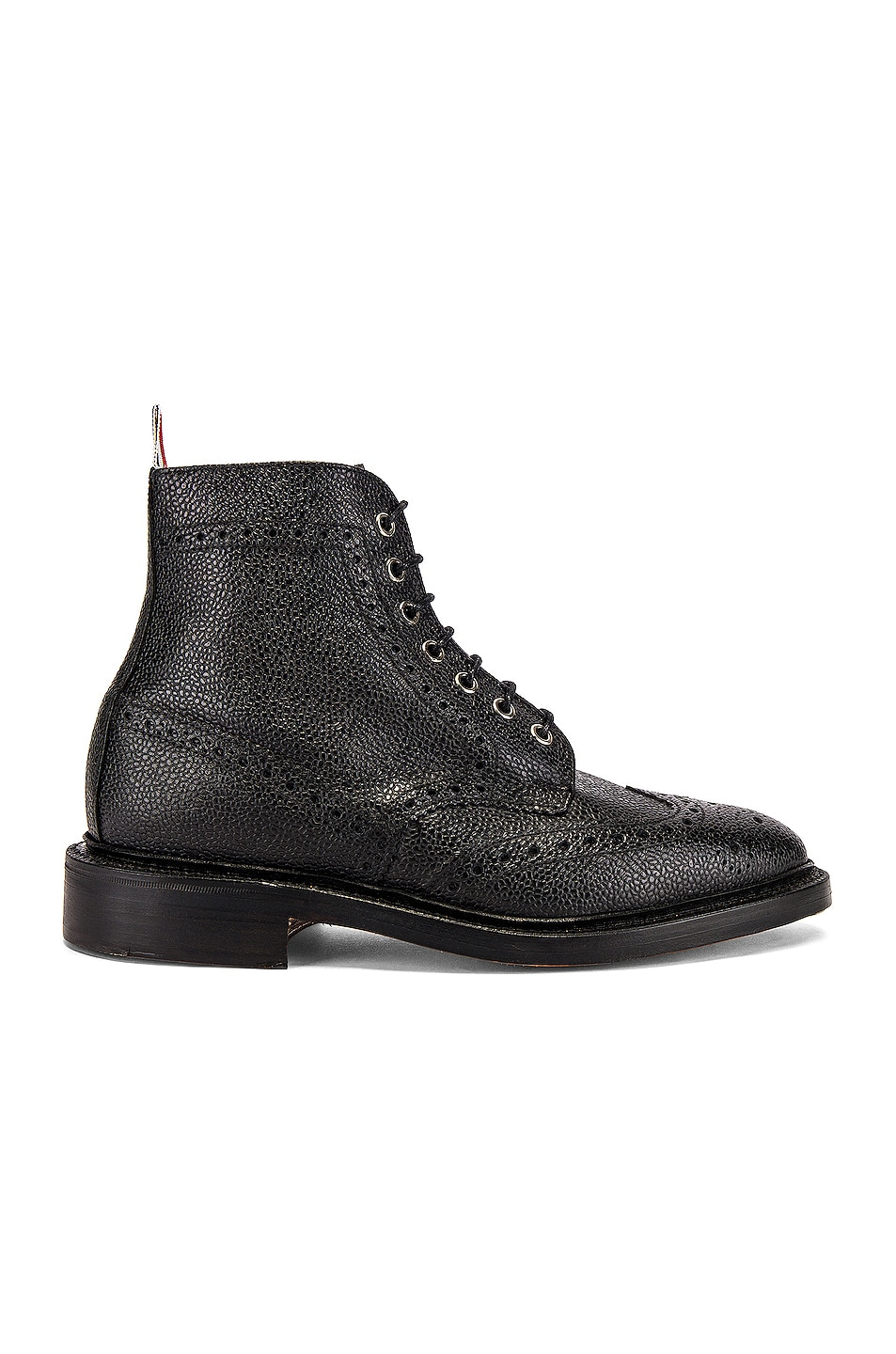 Image 1 of Thom Browne Wingtip Leather Boots in Black