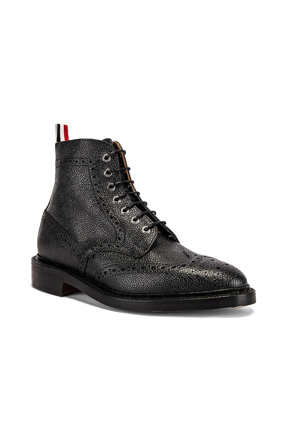 Image 2 of Thom Browne Wingtip Leather Boots in Black