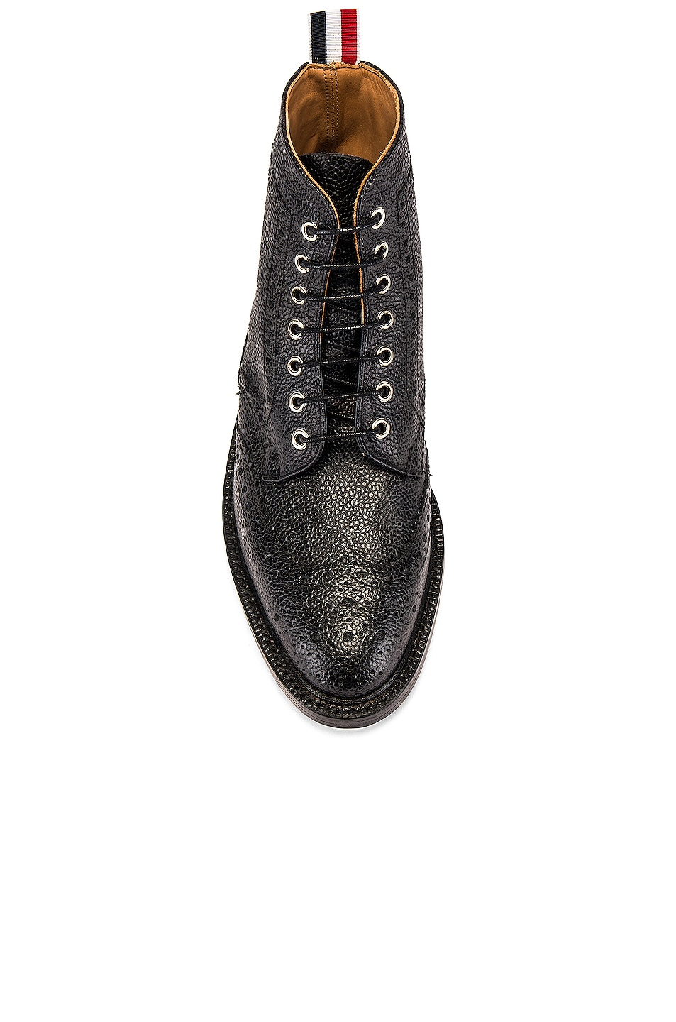 Image 4 of Thom Browne Wingtip Leather Boots in Black