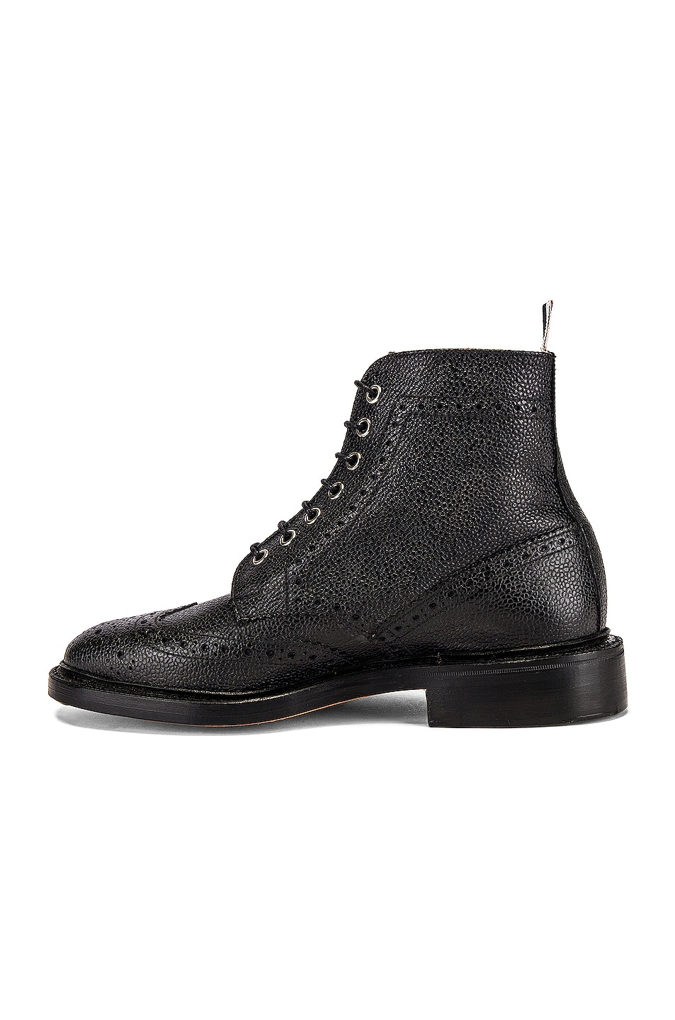 Image 5 of Thom Browne Wingtip Leather Boots in Black