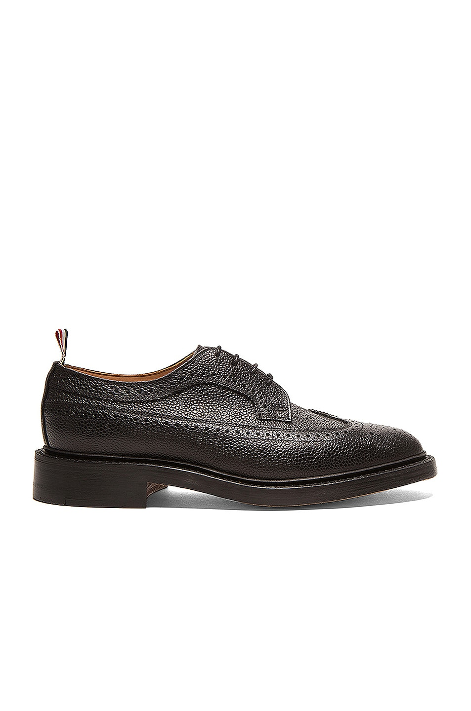 Image 1 of Thom Browne Classic Long Leather Wingtips in Black