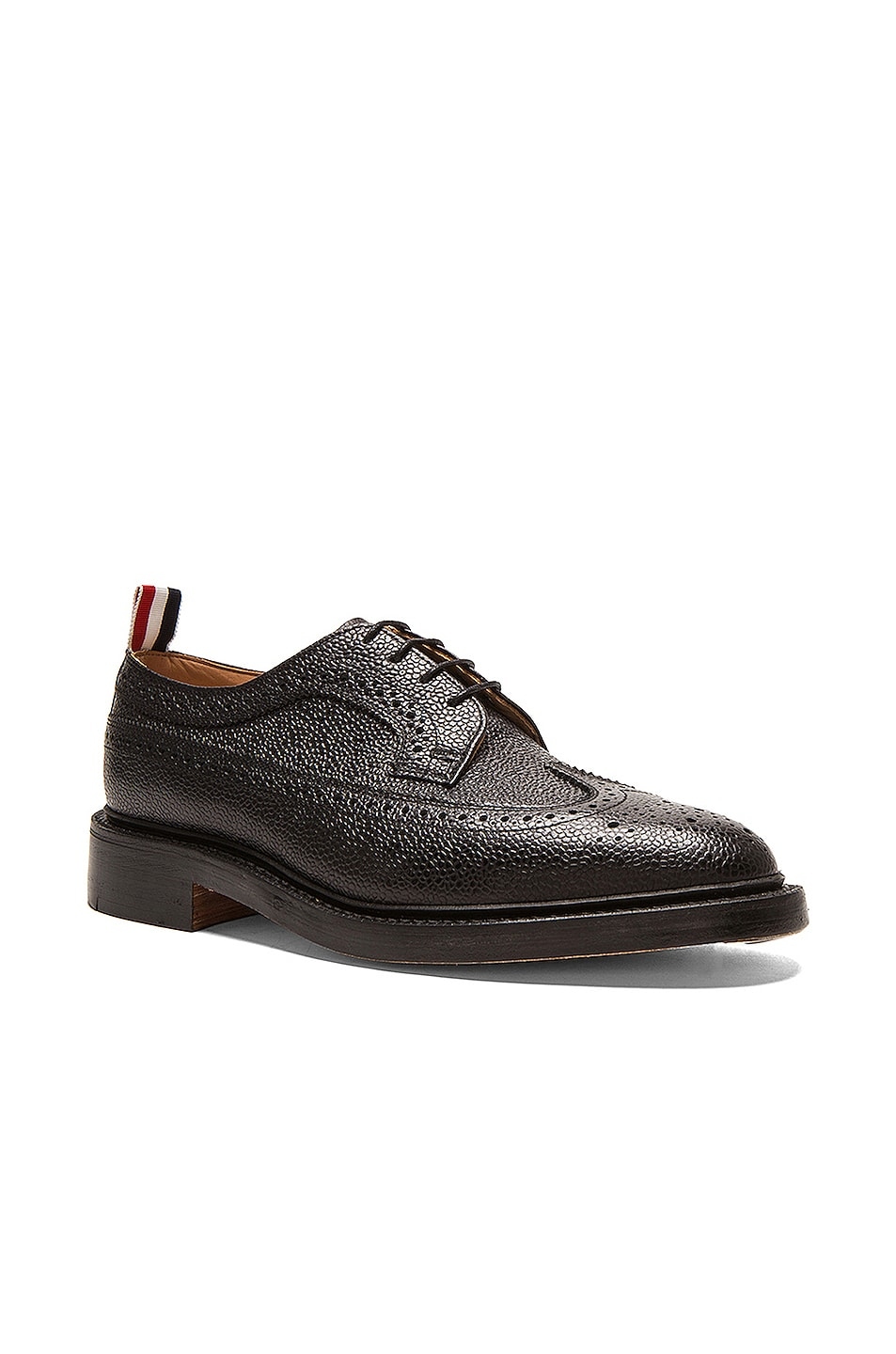 Image 2 of Thom Browne Classic Long Leather Wingtips in Black