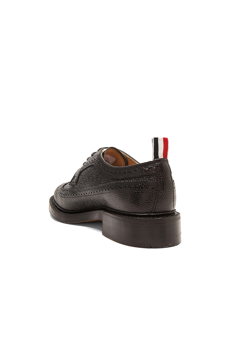 Image 3 of Thom Browne Classic Long Leather Wingtips in Black