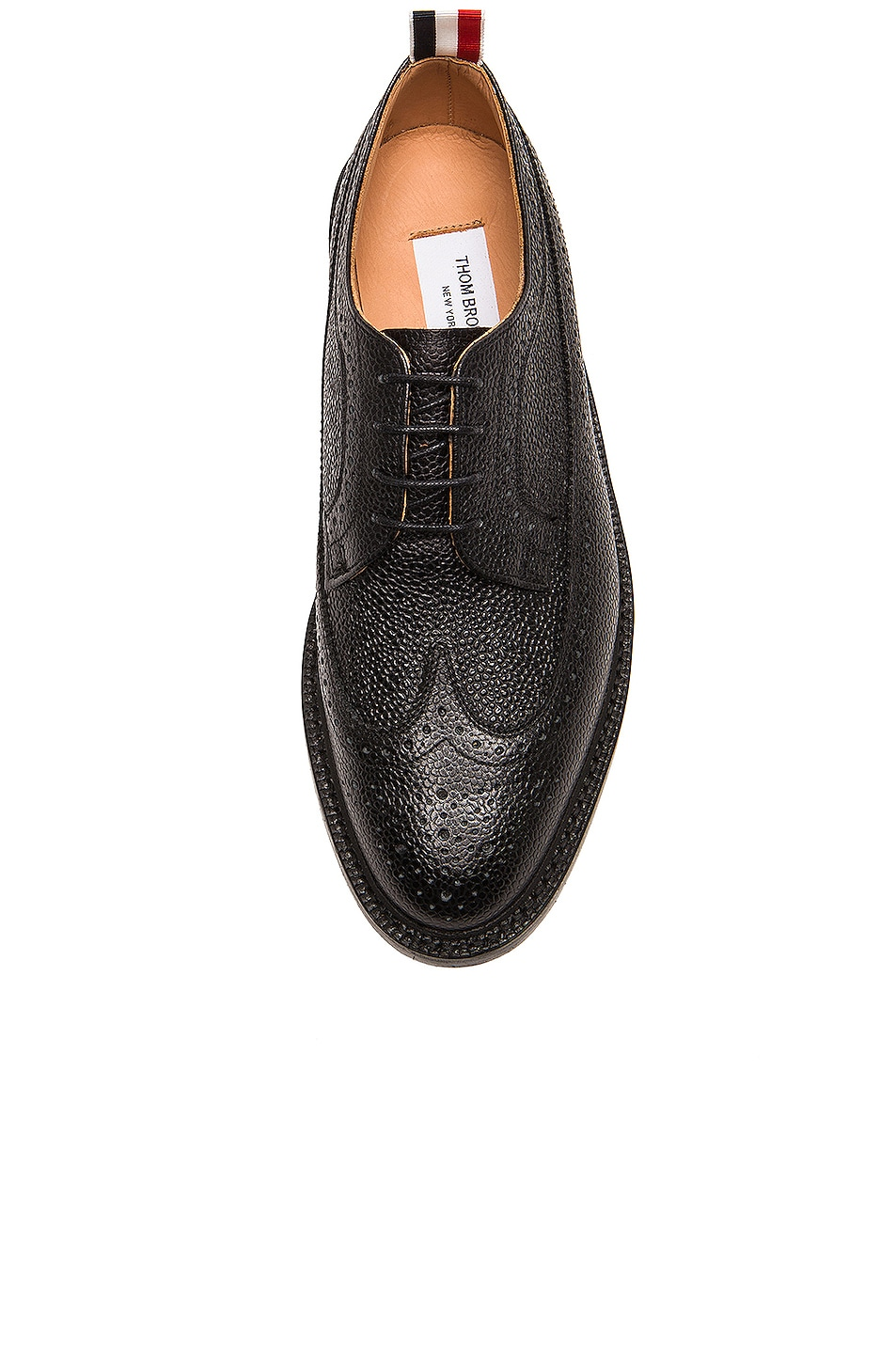 Image 4 of Thom Browne Classic Long Leather Wingtips in Black