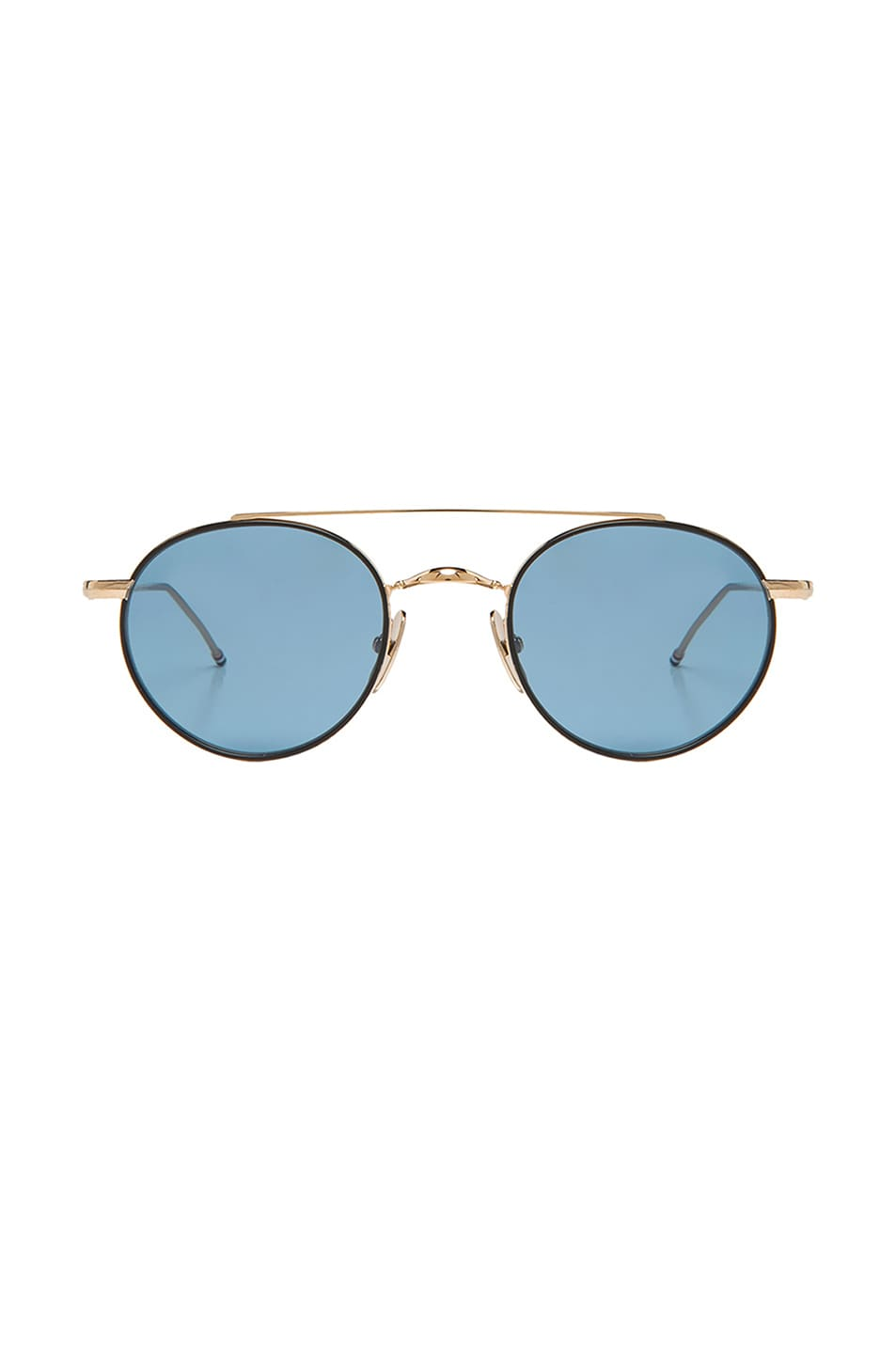 Image 1 of Thom Browne Round Metal Sunglasses in Black Iron & 12K Gold