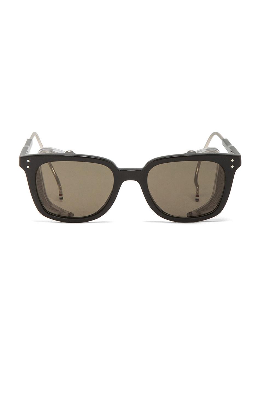 b779b70b380 Image 1 of Thom Browne Square Frame Sunglasses in Black Matte   Silver