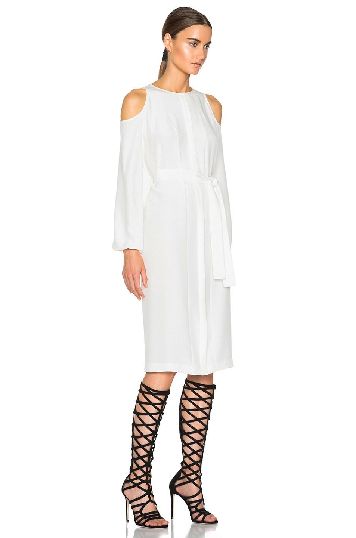 ca96566ea7b Image 3 of Tamara Mellon Stretch Silk Cold Shoulder Shirt Dress in Cream