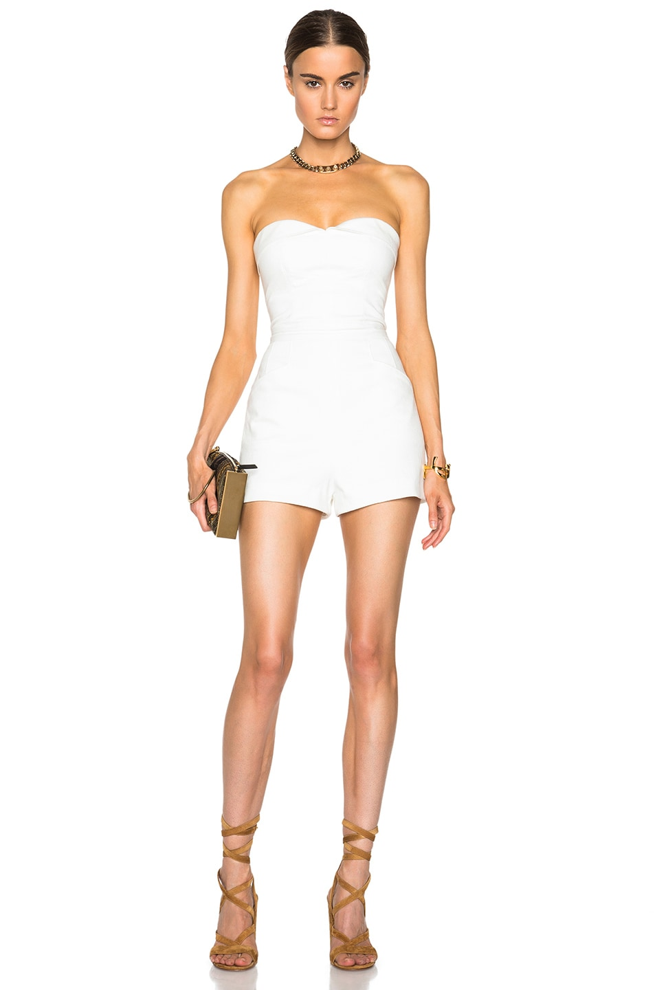 Image 1 of Tamara Mellon Strapless Romper in Cream