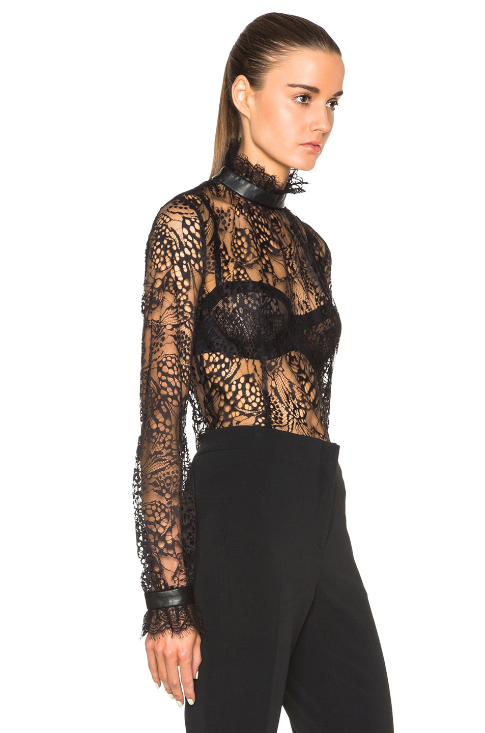 Tamara Mellon Lace Turtleneck Blouse in Black | FWRD