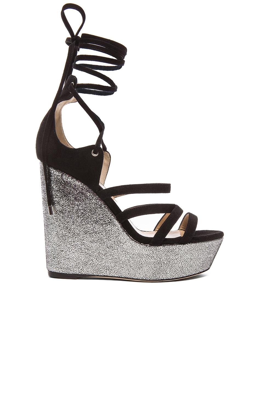 Image 1 of Tamara Mellon Yosemite Suede Wedge Sandals in Black & Silver