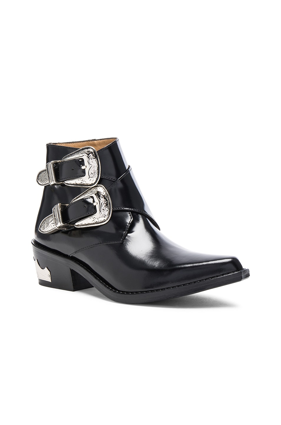 Image 2 of TOGA PULLA Polished Leather Booties in Black