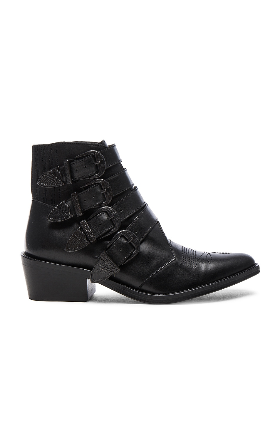 Image 1 of TOGA PULLA Buckled Leather Booties in Black Velvet