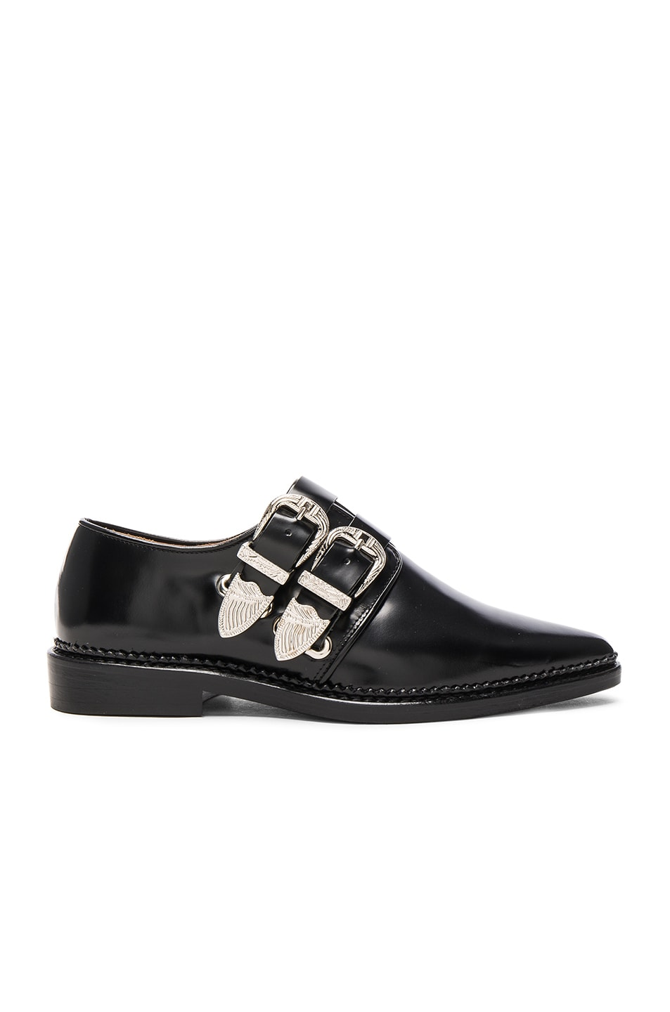 Image 1 of TOGA PULLA Buckled Leather Oxfords in Black Polido