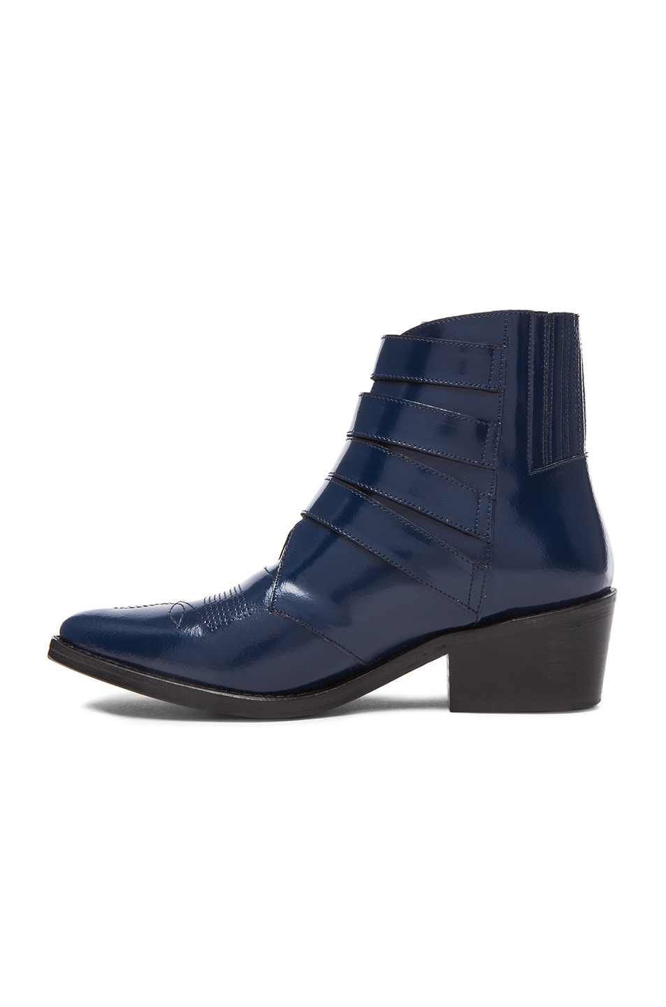 Image 5 of TOGA PULLA Leather Buckle Booties in Navy