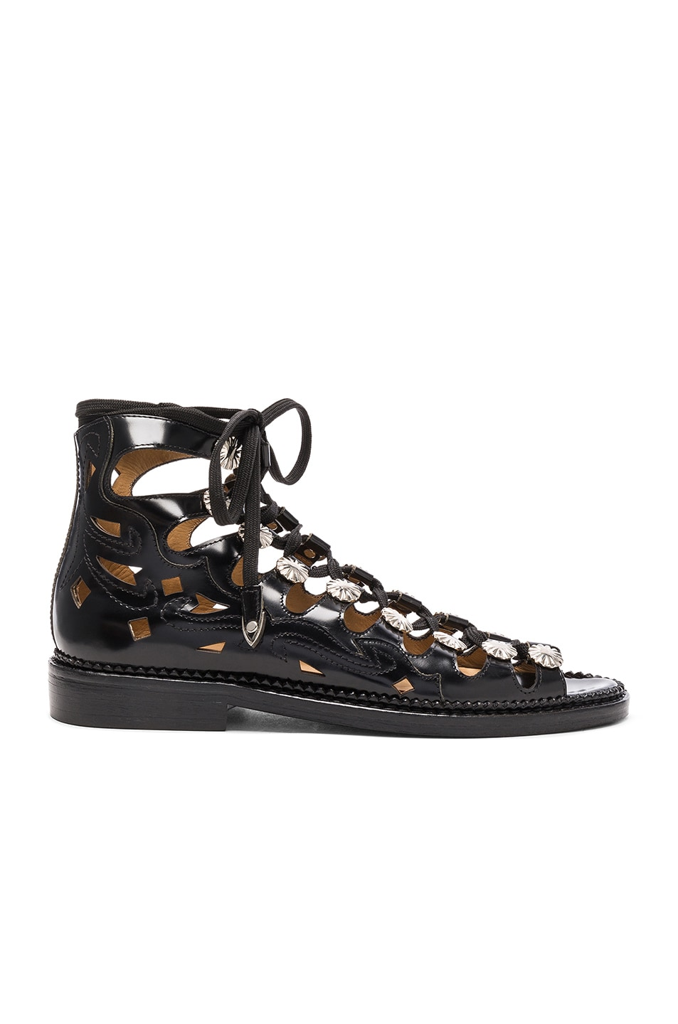 Image 1 of TOGA PULLA Leather Sandals in Black Polido Cutout