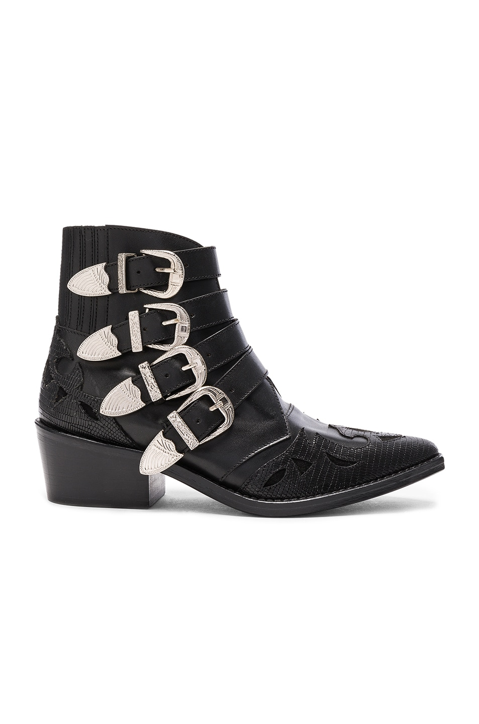 Image 1 of TOGA PULLA Leather Booties in Black Mix Leather