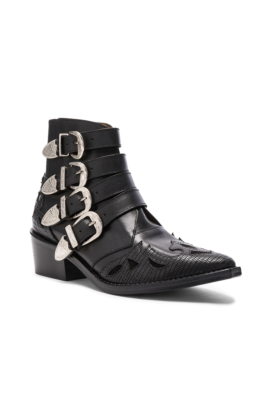 Image 2 of TOGA PULLA Leather Booties in Black Mix Leather