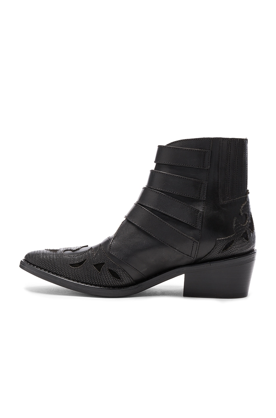Image 5 of TOGA PULLA Leather Booties in Black Mix Leather