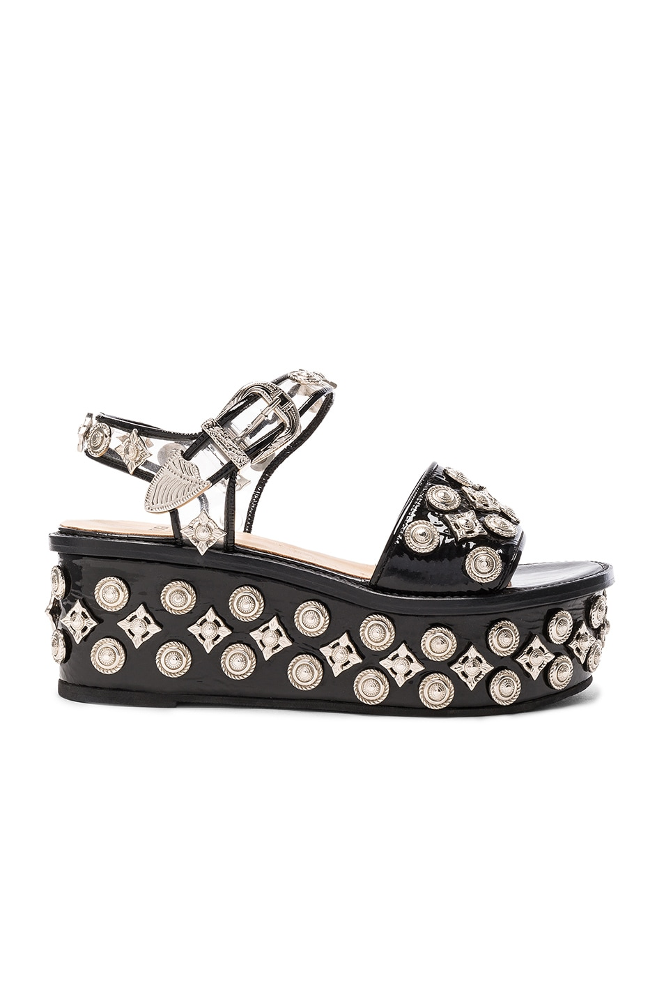Image 1 of TOGA PULLA Patent Leather Platform Sandals in Black