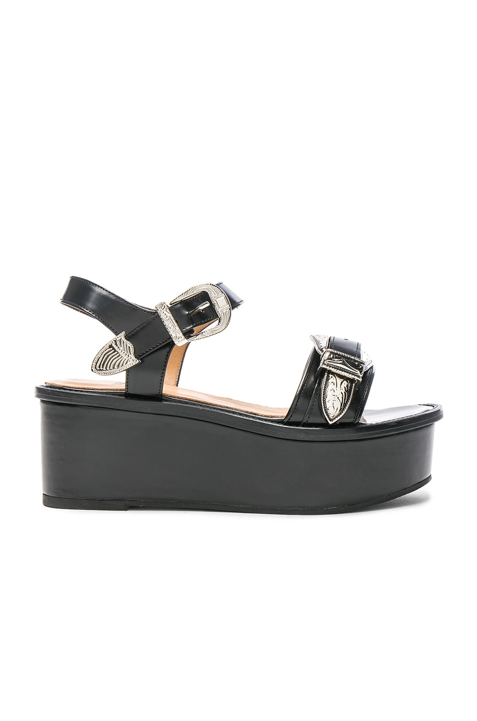Image 1 of TOGA PULLA Buckle Leather Flatforms in Black Polido