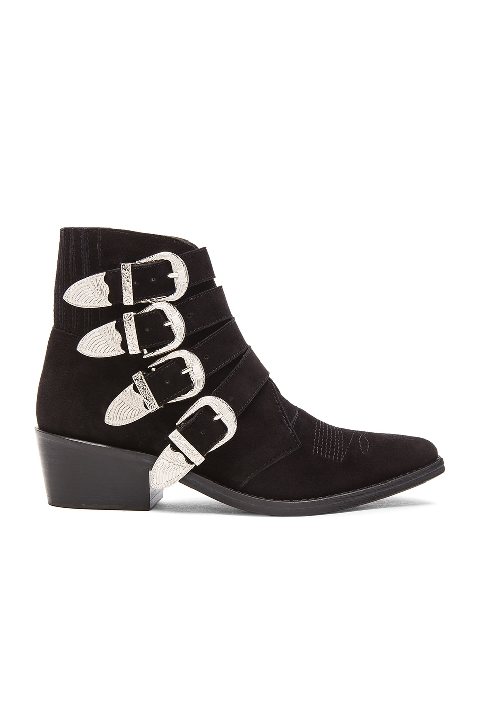 Image 1 of TOGA PULLA Suede Buckled Booties in Black