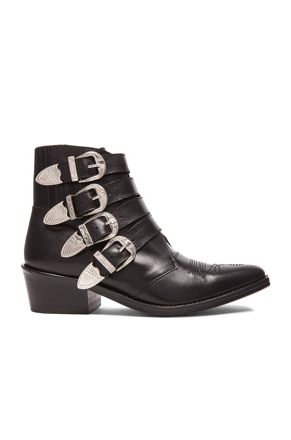Image 1 of TOGA PULLA Leather Buckled Booties in Black Leather