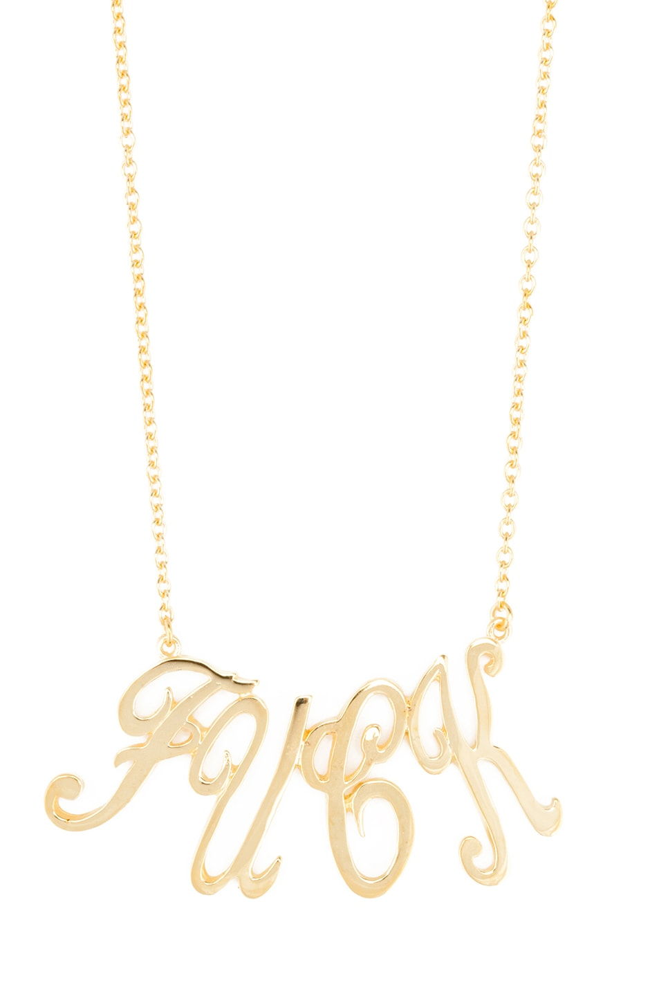 Image 1 of Tom Binns Uber Urban Fuck Gold Plated Necklace in Gold