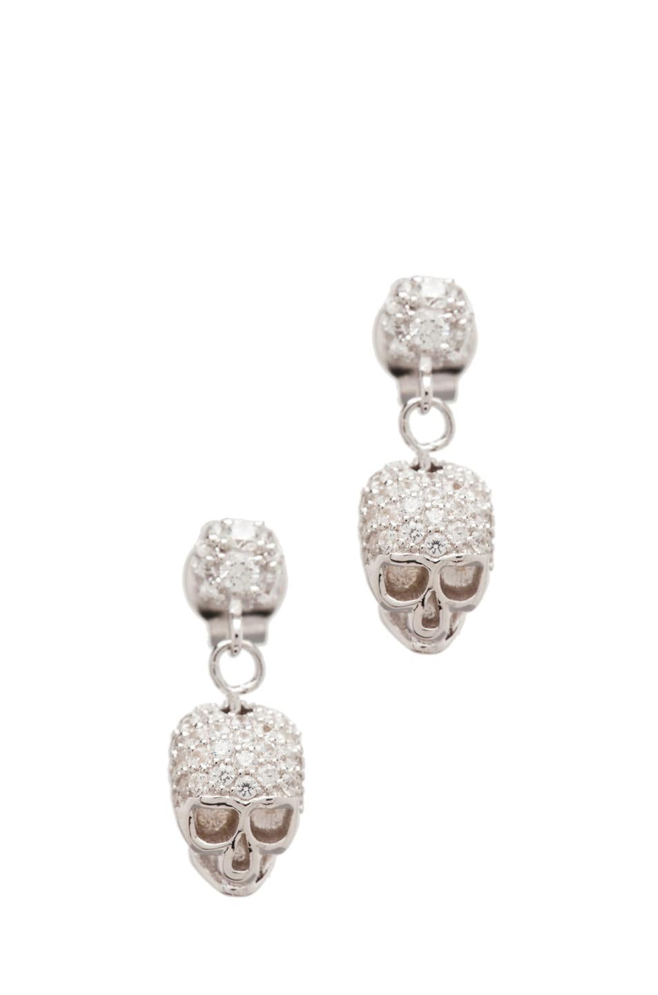 Image 1 of Tom Binns Bejeweled Charm Offensive Plated Skull Earrings