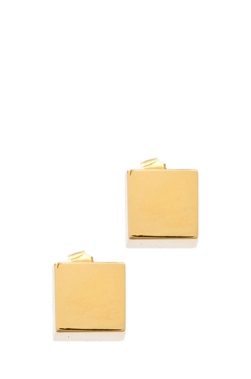 Image 1 of Tom Binns Cubettes Large Cube Earrings in Gold