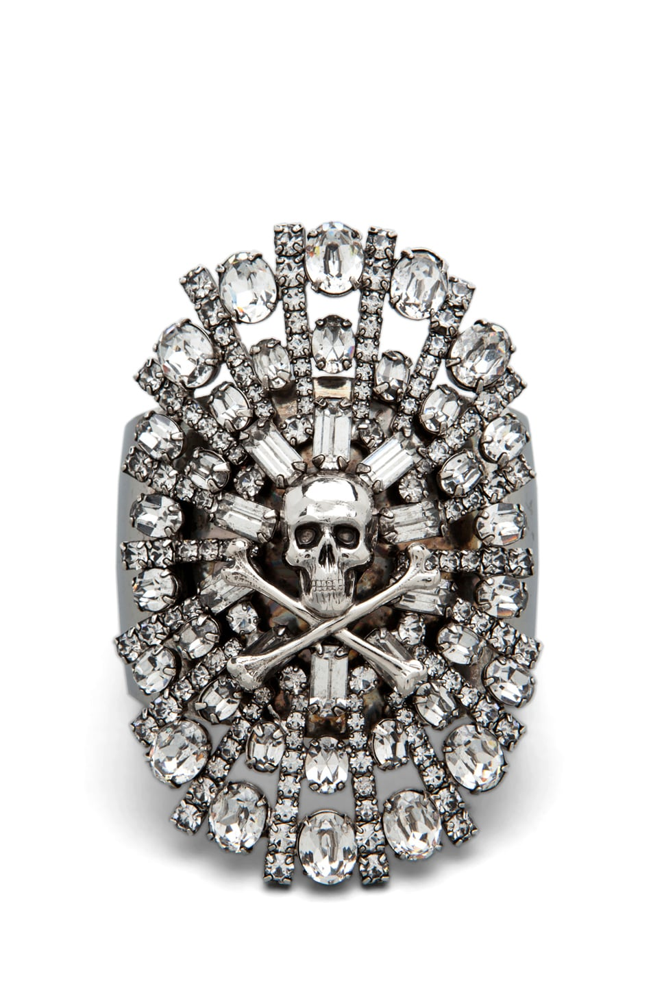 Image 1 of Tom Binns Parure Crystal Skull and Crossbones Cuff in White