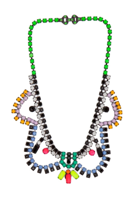 Image 1 of Tom Binns Dot Dash Rhodium & Brass Necklace in Black Multi