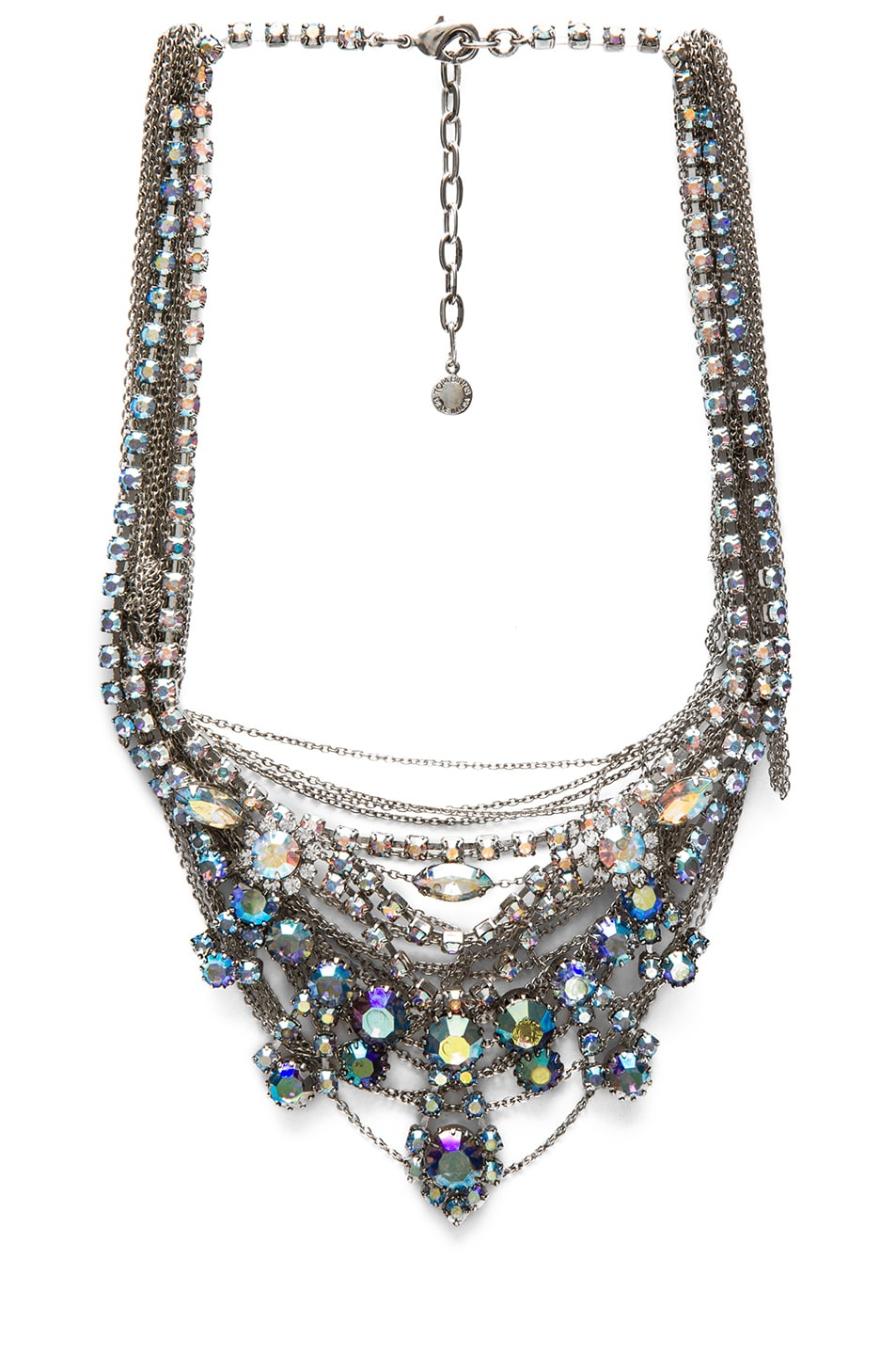 Image 1 of Tom Binns Multi Chain Rhodium Plated Necklace in Iridescent