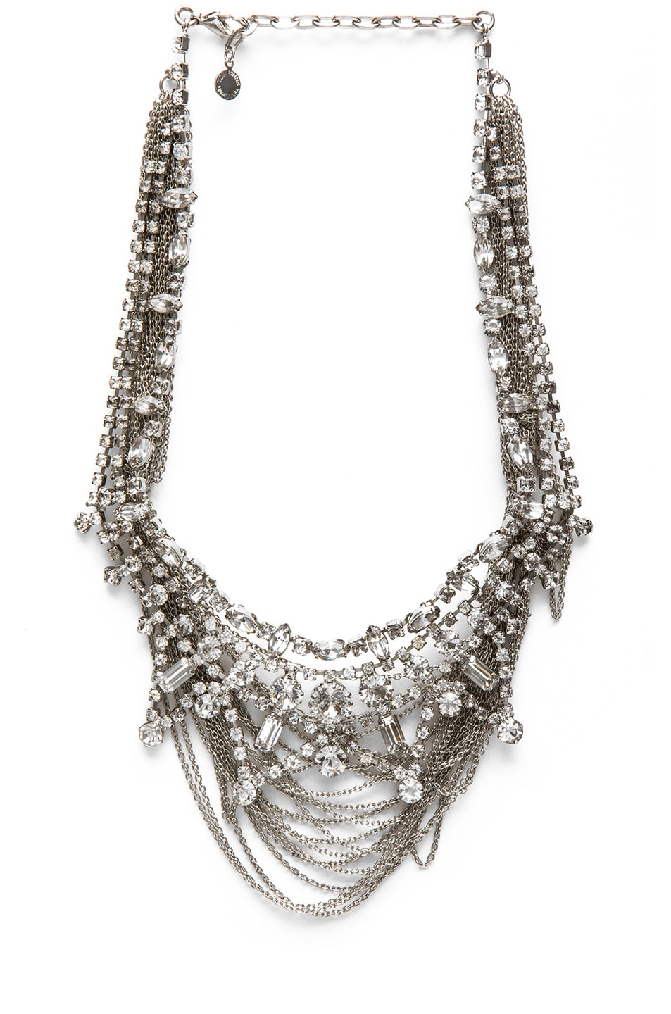 Image 1 of Tom Binns Fettered Layered Rhodium Plated Necklace in White