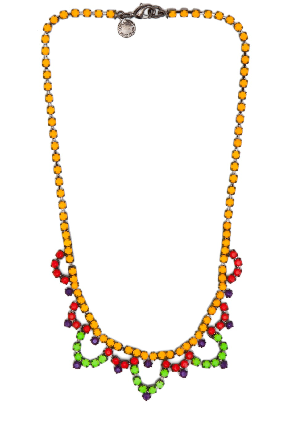 Image 1 of Tom Binns Dot Dash Rhodium & Brass Necklace in Yellow Multi