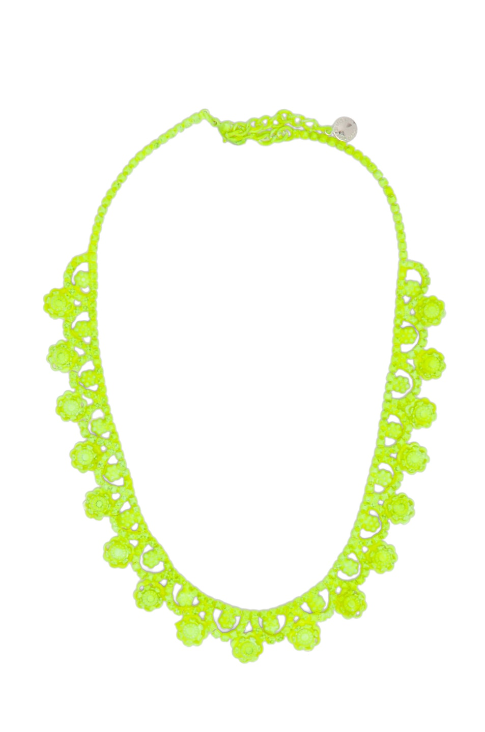 Image 1 of Tom Binns Neo Neon Hand Painted Rhodium Necklace in Yellow Neon