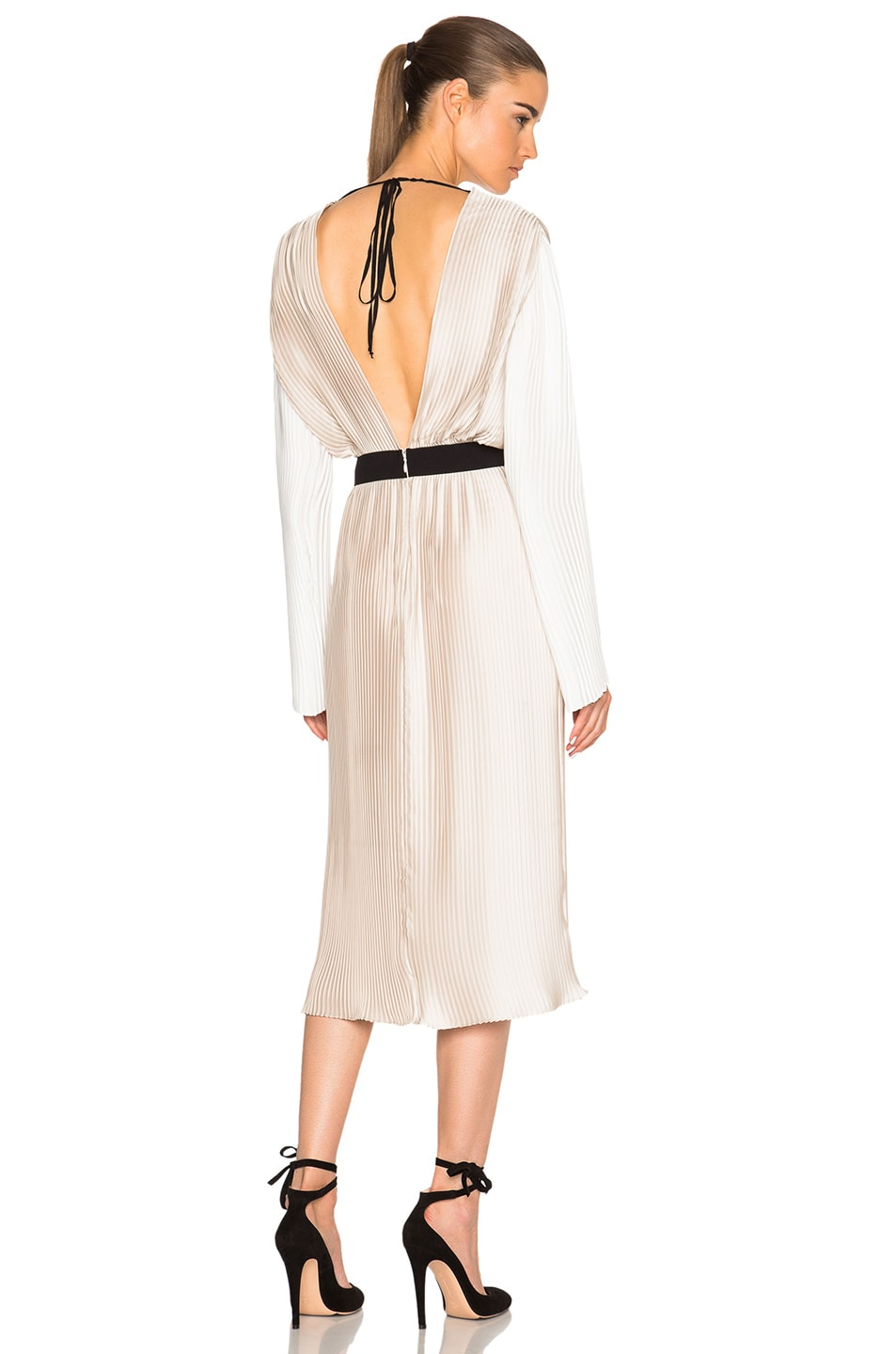 Image 1 of Tome Pleated Wrap Dress in Bone