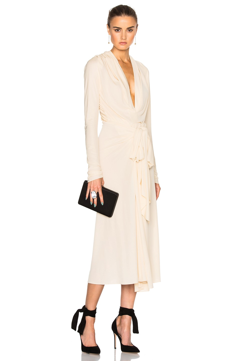 Image 1 of Tome Bow Drape Dress in Ivory