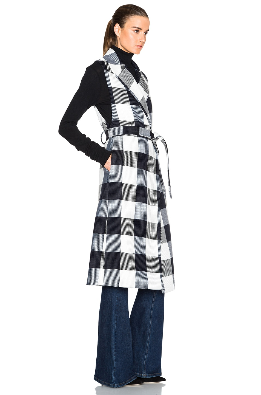 Tome Plaid Sleeveless Trenchcoat in Black & White | FWRD