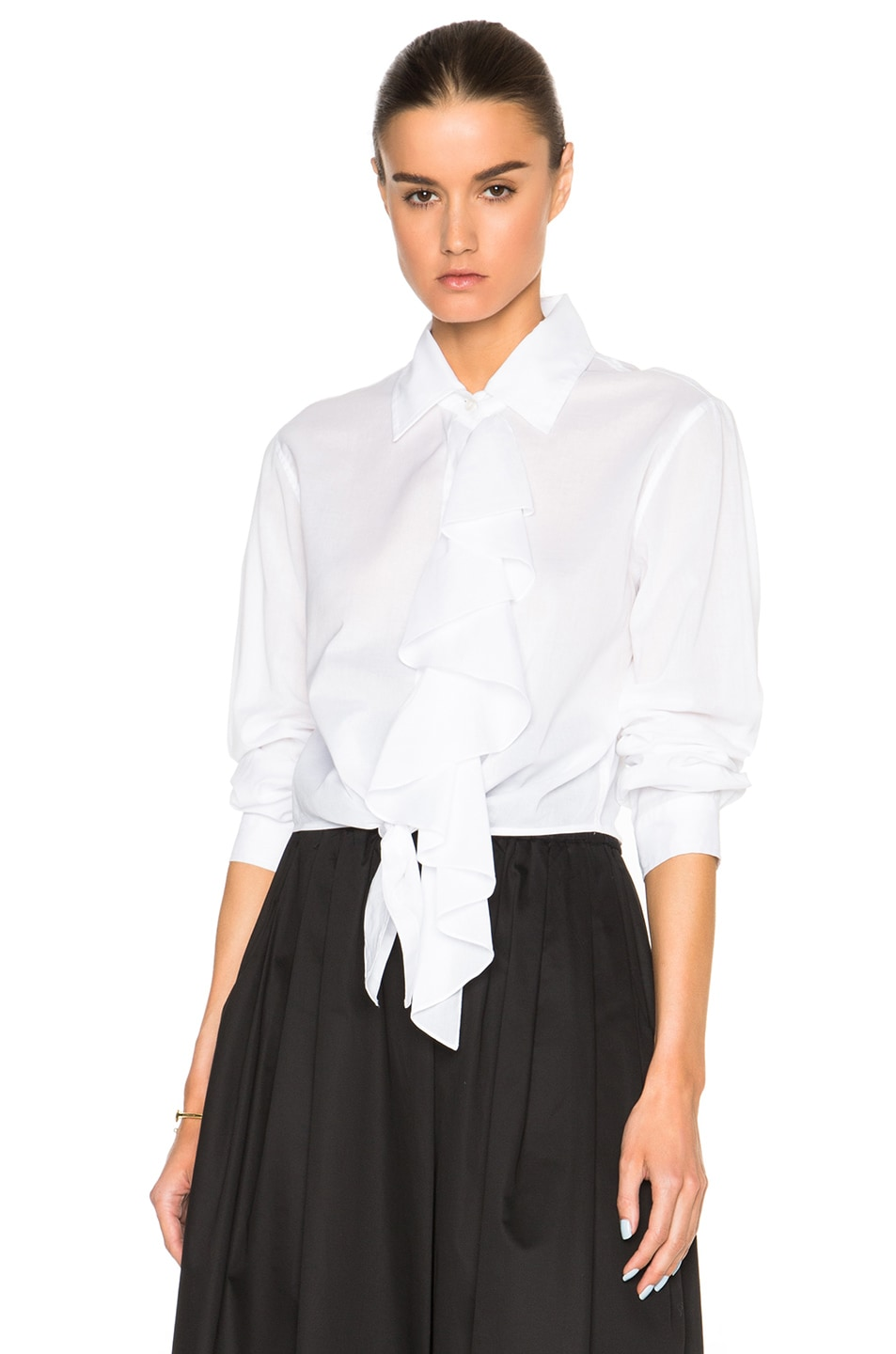 Image 1 of Tome Tie Front Shirt with Ruffle in White