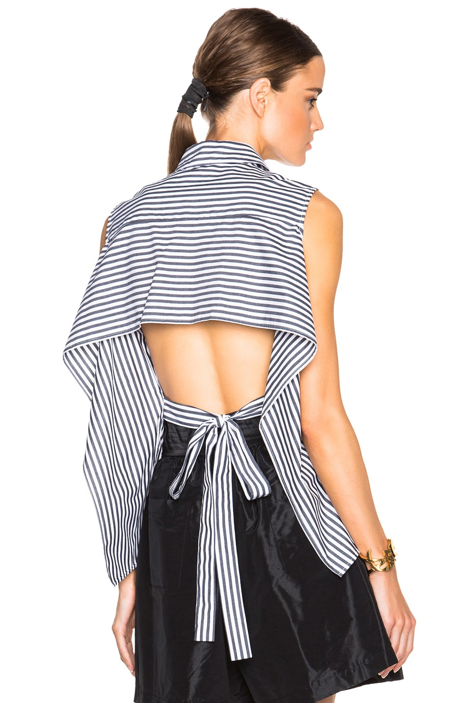 Image 1 of Tome FWRD Exclusive Striped Poplin Tie Back Top in Black & White