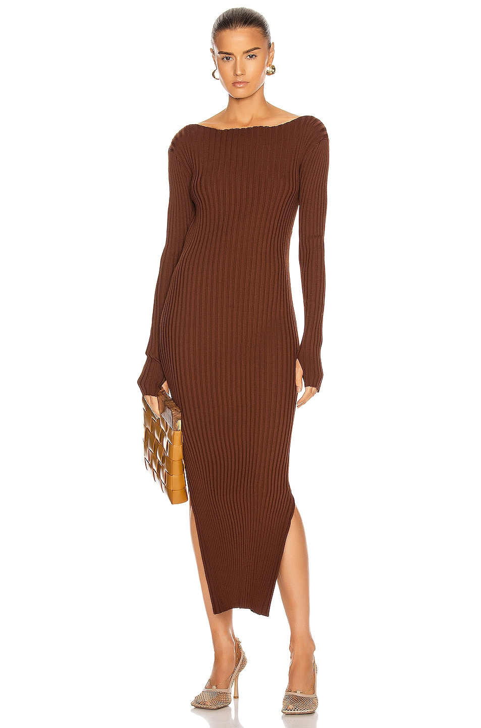 Image 1 of Toteme Orville Dress in Dark Brown