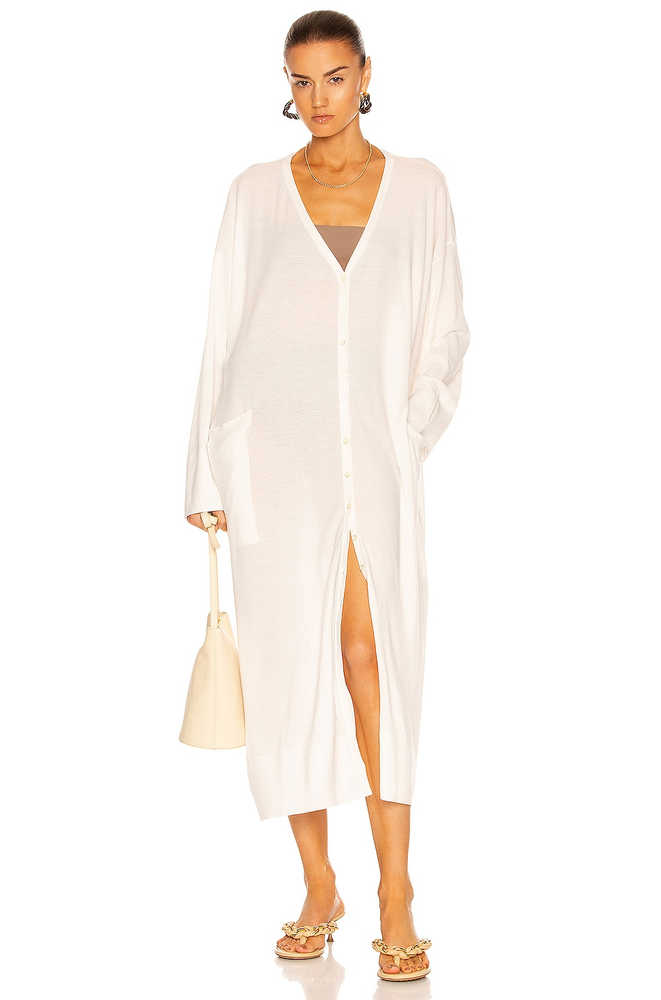 Image 1 of Toteme Fine Cotton Beach Dress in Ivory