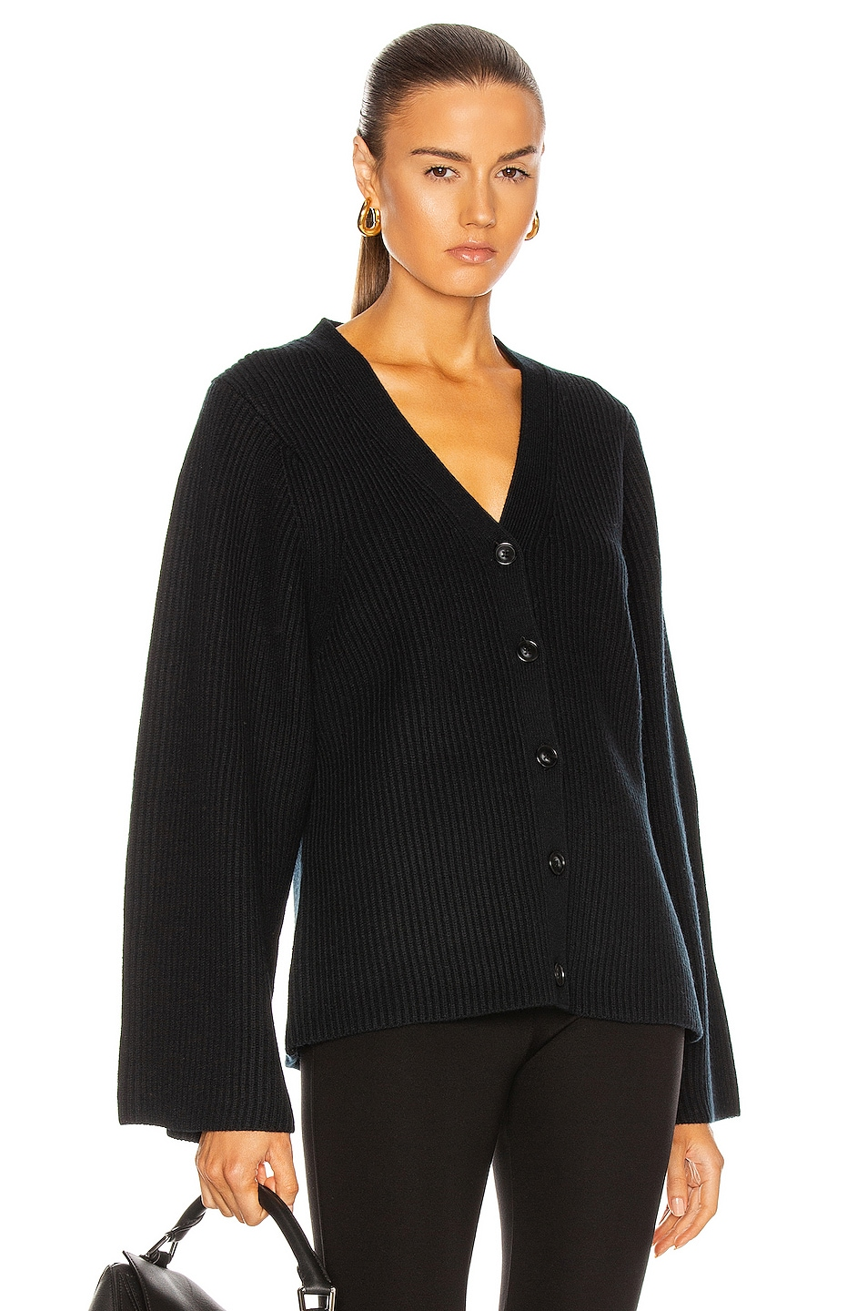 Image 1 of Toteme Lambswool Knit Cardigan in Black