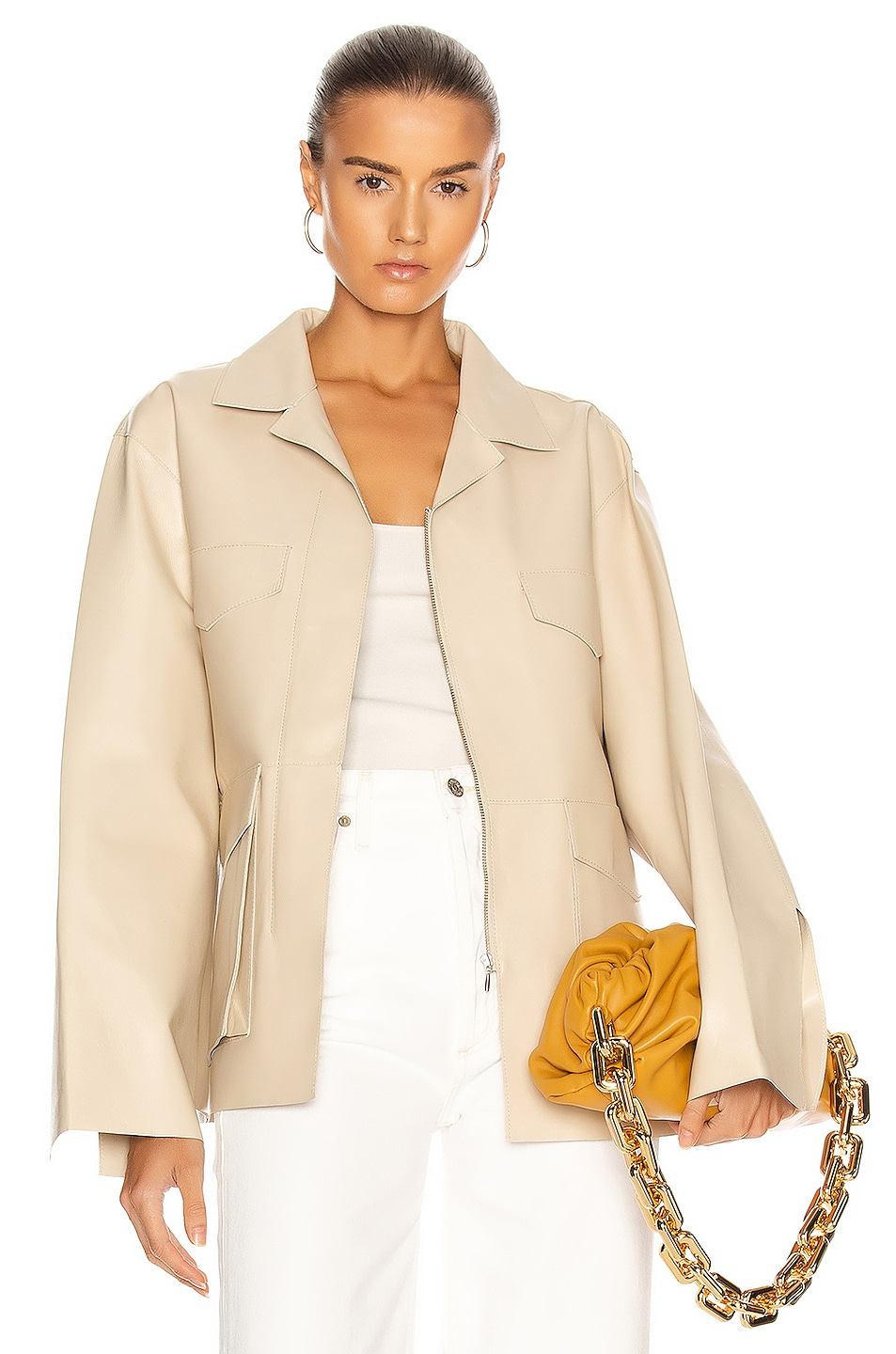 Image 1 of Toteme Avignon Leather Jacket in Ivory